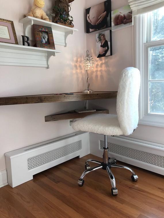 Floating Corner Desk Modern Corner Desk Floating Shelves Etsy