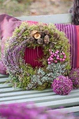 beautiful wreath, looks like moss and maybe dried flowers?