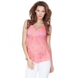 Coral Paisley Strappy Cotton Maternity Top size 4