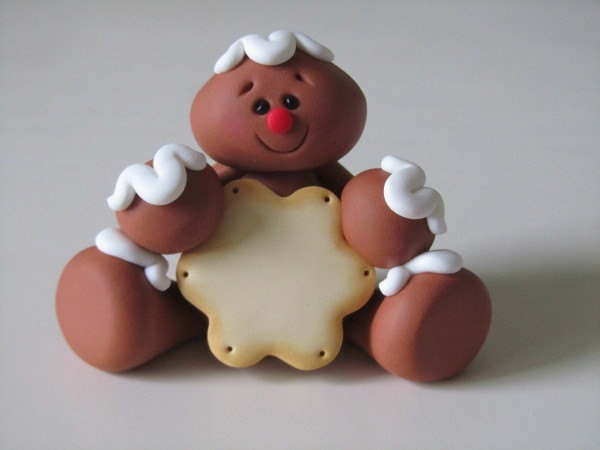 Clay Gingerbread Man with Cookie via Etsy.