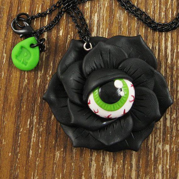 Bloodshot Eyeball Rose Necklace by rapscalliondesign on Etsy, $20.54