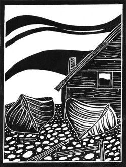 Boats linocut: Alison Deegan, shown on Weaverbird Workshop