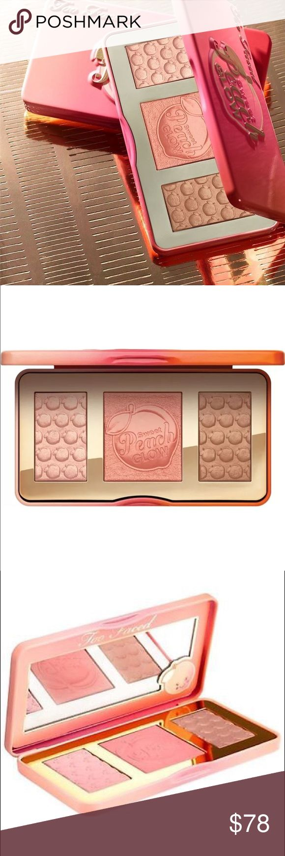 "TOO FACED SWEET PEACH GLOW HIGHLIGHT PALETTE I was one of the lucky few to get in ""line"" on the too faced website tonight. I bought two of these. One for me and one for anyone who couldn't buy it online! Get yours now. Too Faced Makeup Luminizer"