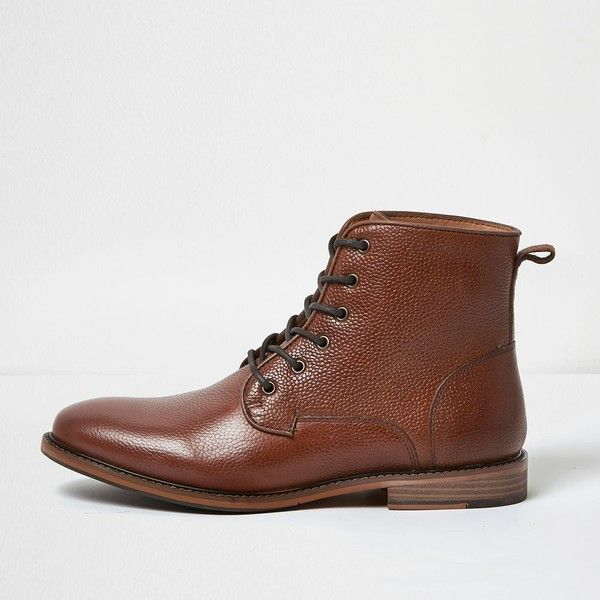 River Island Brown tumbled leather boots (€76) ❤ liked on Polyvore featuring men's fashion, men's shoes, men's boots, brown, shoes, mens brown boots, mens brown leather boots, mens leather boots, mens lace up shoes and mens leather shoes