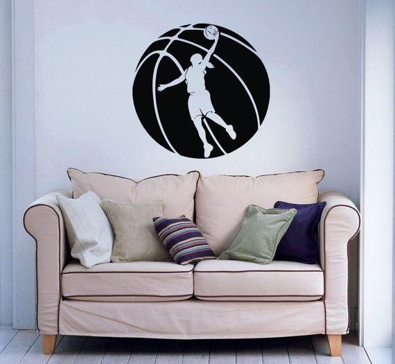 Female Girl Basketball Player with Ball Sport Wall Vinyl Decal Sticker Housewares Design Murals Interior Decor Home Bedroom SV5228