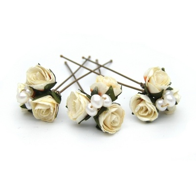 pale ivory mini rose wedding hairpin with pearls