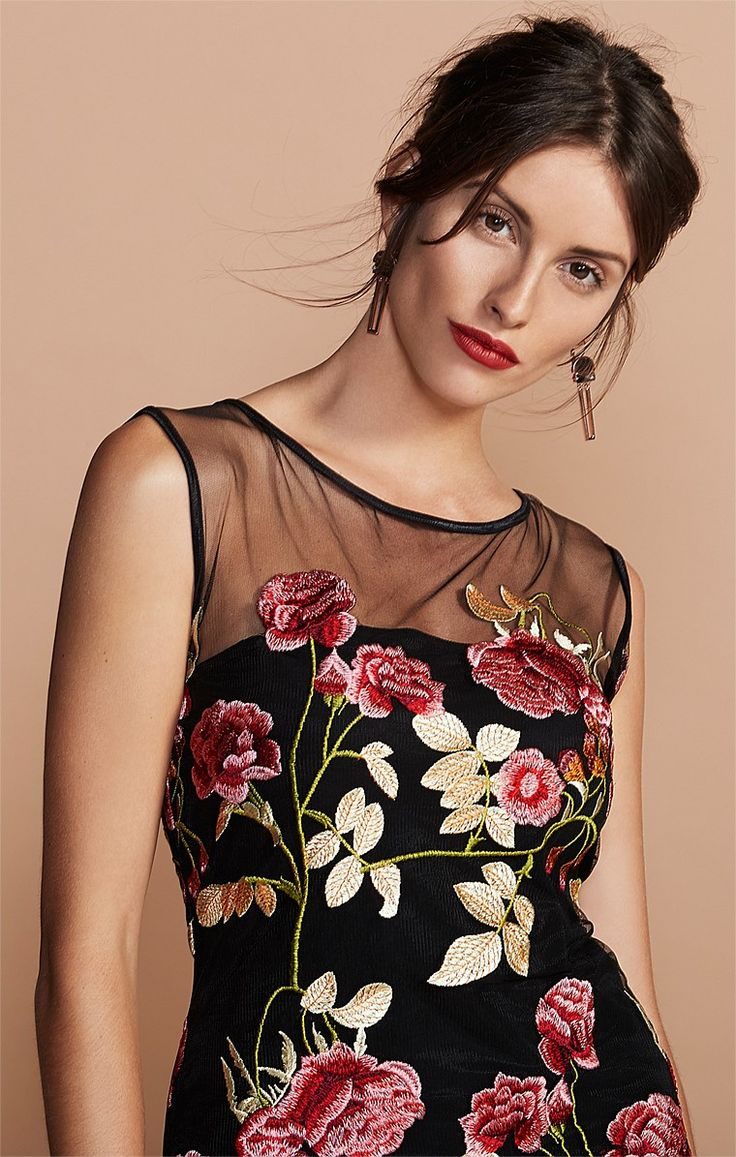 FERRERA EMBROIDERED FLORAL HIGH NECK CAP SLEEVE PARTY DRESS