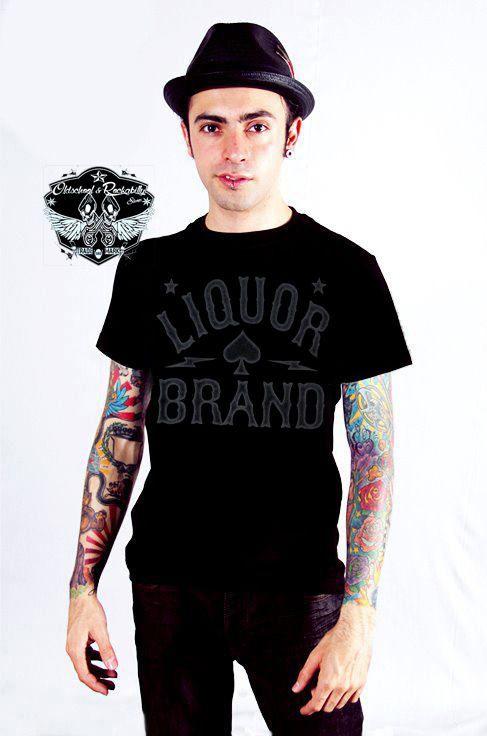 Liquor Brand Logo T-Shirt.Tattoo,Oldschool,Biker,Rocabilly,Custom Clothing Style