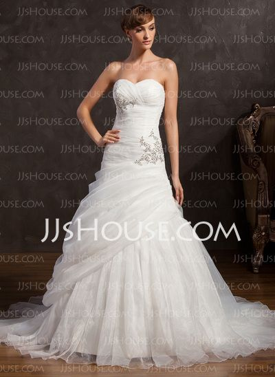 Wedding Dresses - $226.99 - A-Line/Princess Sweetheart Court Train Organza Satin Wedding Dresses With Ruffle Beadwork Sequins (002015159) http://jjshouse.com/A-Line-Princess-Sweetheart-Court-Train-Organza-Satin-Wedding-Dresses-With-Ruffle-Beadwork-Sequins-002015159-g15159