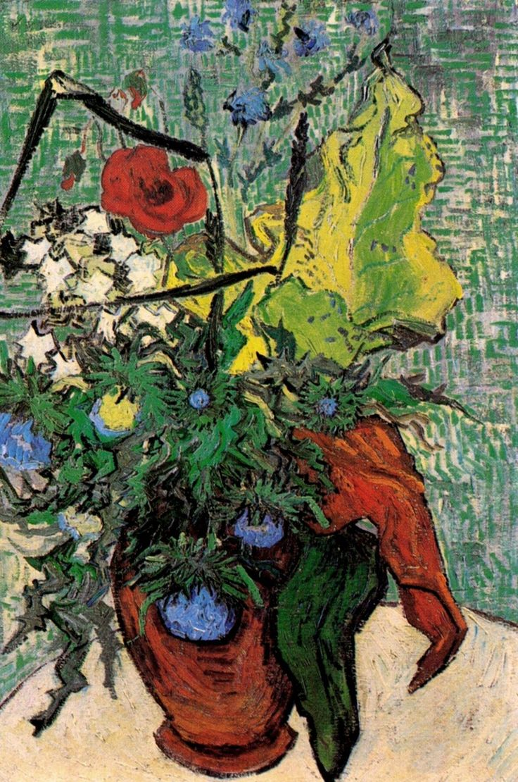 Wild Flowers and Thistles in a Vase, 1890, Vincent van Gogh  Size: 67x47 cm  Medium: oil on canvas