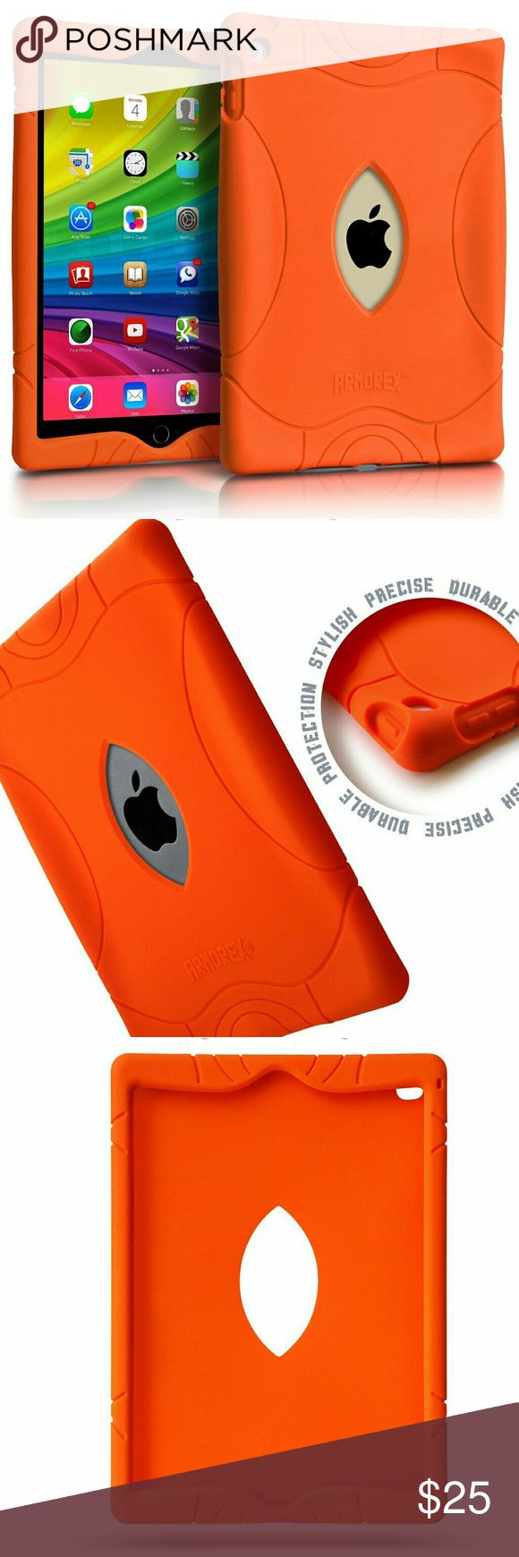 """iPad Air 2 Case 9.7"""" Solid Orange Silicone Case Case that not only looks great but also offers exceptional Drop & Shockproof protection. The wide cushions on each edge & sides provide your iPad Air a 6 mm lift above surface & keeps it safe from any angle and even when used by small kids.The 100% premium eco-friendly food-grade silicone case precisely covers your iPad.This material will not fade like regular plastic cases and will keep the special color and shape even after being exposed to…"""