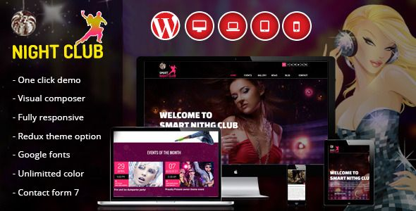 NIGHT CLUB   is a clean, and unique WordPress Theme for Parties, Functions, Decorations and Events We built this theme on Visual Composer, a very convenient drag-n-drop PageBuilder for WordPress. ...