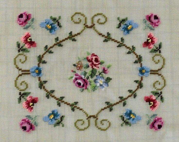 1 Vintage Pre Worked Canvas Tapestry Flowers 1064 | eBay