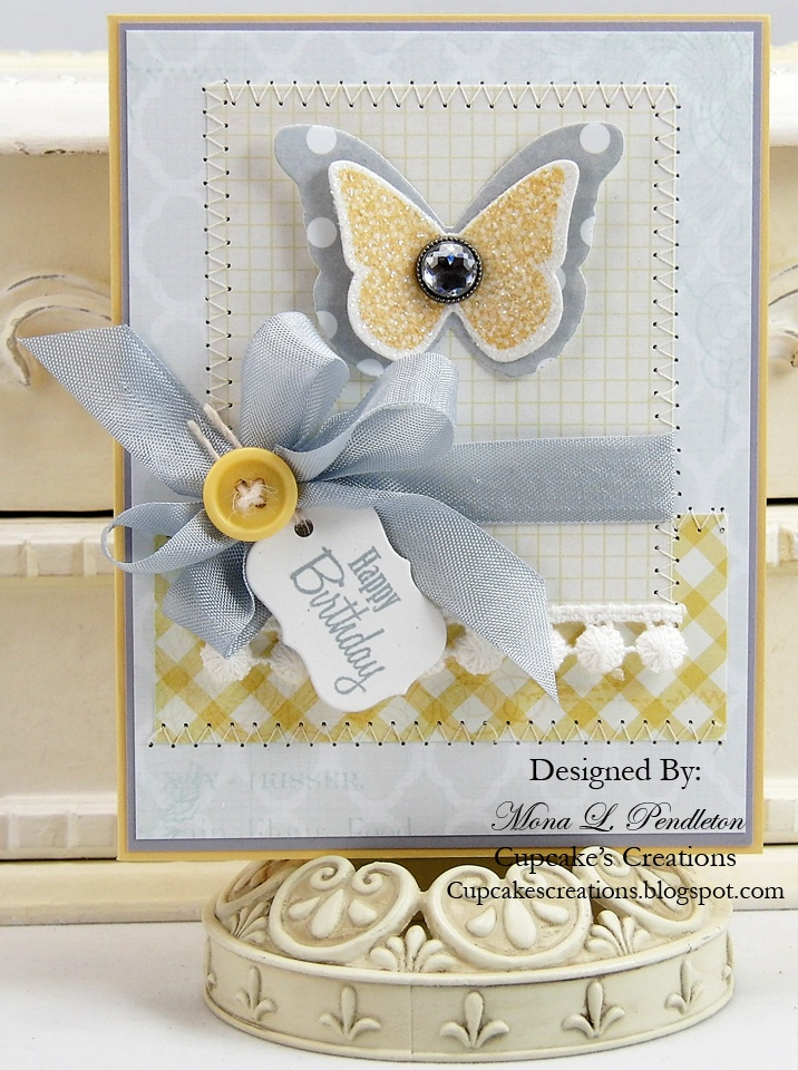 I love butterflies, especially in layers!  Not to mention the bling!  Have this background stamp and the dies.  I used my copics to Colorado white seam binding to reproduce basic grey ribbon that is no longer available for a recent yellow and grey card I did in volume.  Love the color combo!