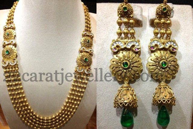 Jewellery Designs: Kundan Chandra Haram with Jhumkis