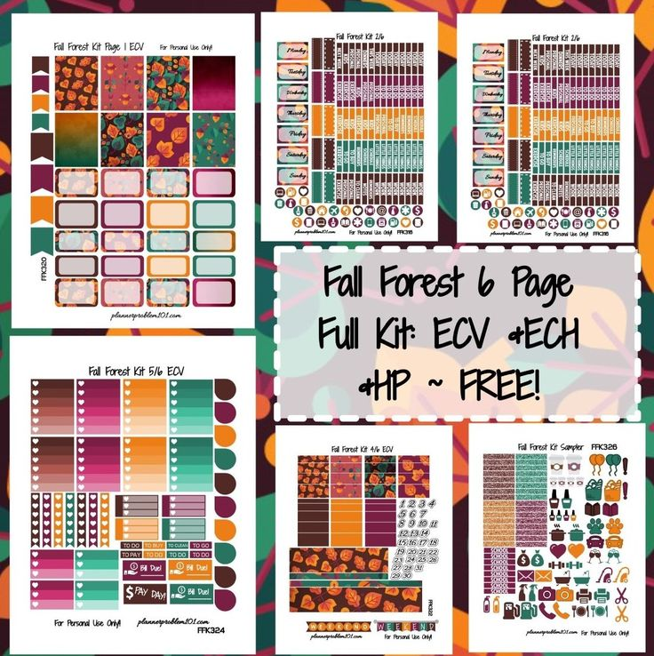 Planner - FREE Printable Autumn Fall Forest Orange, Purple + Teal Week Kit