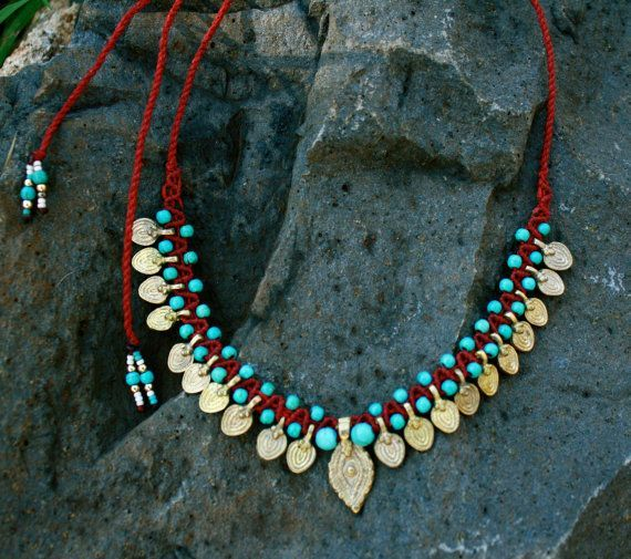 Tribal Necklace/ boho necklace/ tribal collar/ by yasminsjewelry