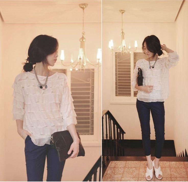 [reflower] 프릴캉캉블라우스 / romantic frill cancan blouse : 리플라워