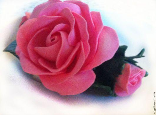 Броши ручной работы. Ярмарка Мастеров - ручная работа. Купить Брошь Розовые розы из полимерной глины. Handmade. Розовый, рукоделие