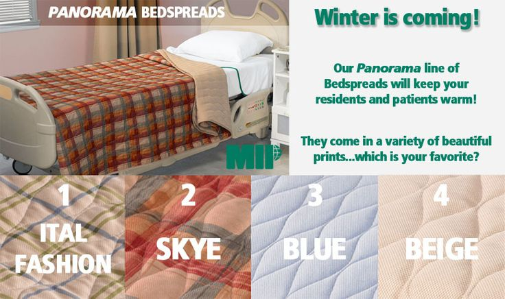 Sadly, winter will soon be upon us! The cold days and nights can be difficult for patients and residents. What better way to keep them warm then with our PANORAMA BEDSPREADS!  Which is your favorite Print?  http://store.mipinc.info/bedding/blankets-bedspreads/panorama-bedspreads.html