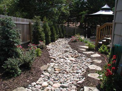 Backyard - dry creekbed to improve drainage.