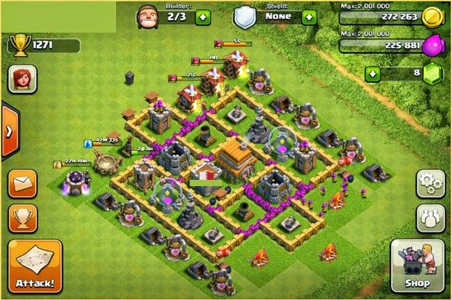 clash of clans level 7 town hall layout without barbarian king