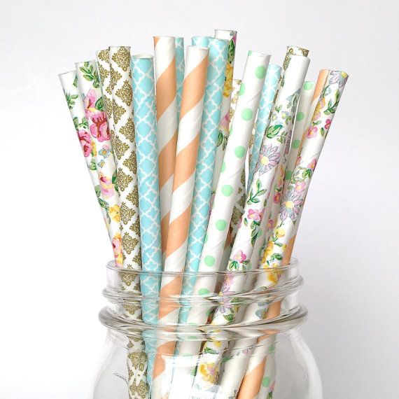 Rustic Chic Farmhouse Style Floral Straws by Twigsandtwirlsllc