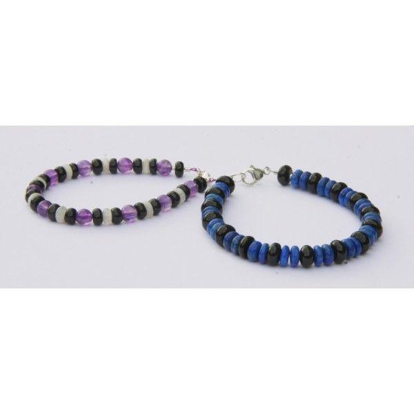 Men's Bracelet / Bracelets Homme Lapislazuli et Tourmaline noire & Tourmaline, Améthyste, Pierre de lune