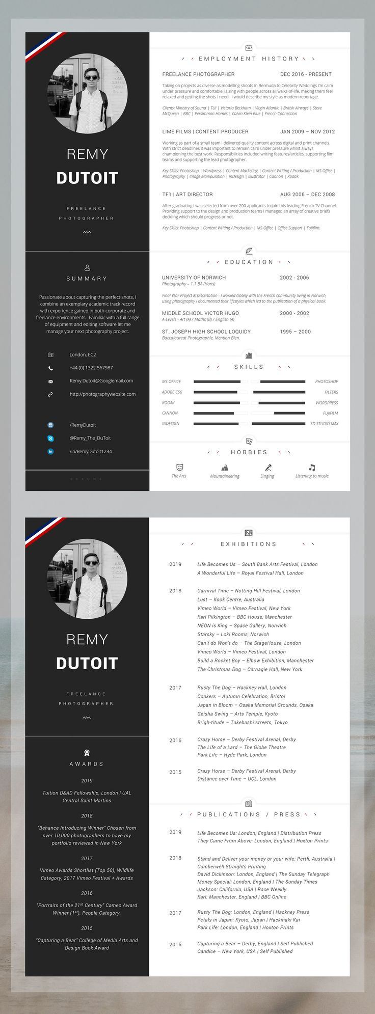 Photographer Resume / Creative Resume and Cover Letter