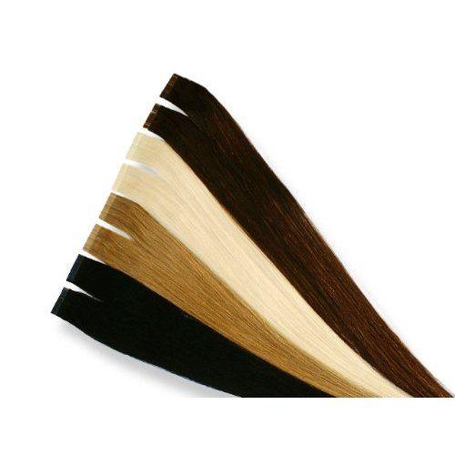 Echthaar Tape On / In Extensions Haarverlängerung 40cm 10 Tressen (01 - schwarz)