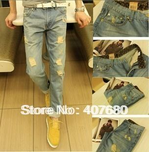 Excellent mens fashion casual hole ripped denim harem jeans capris Free shipping