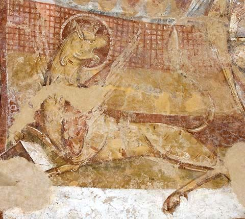 Le lion de saint Marc, un des quatre symboles entourant le Christ Eglise Saint-Martin, Nohant-Vic (36), début du XIIe siècle