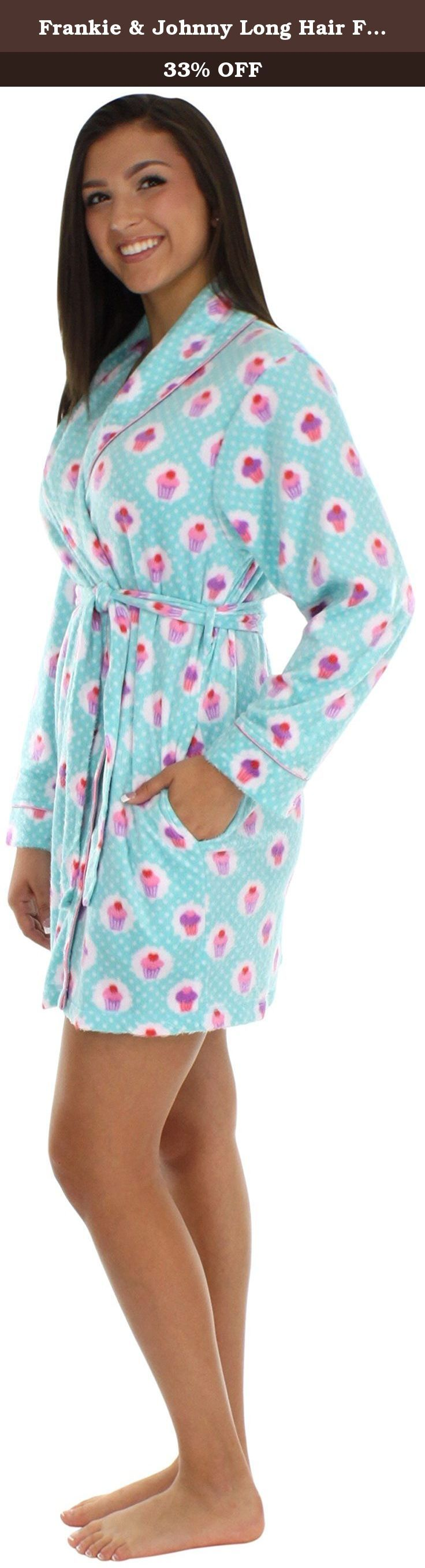 """Frankie & Johnny Long Hair Fleece 36"""" Short Robe Cupcakes Teal- M. Frankie & Johnny long hair fleece short robes have a minky feel and are super soft and comfortable with just enough stretch that you will want to wear them all day long. Sizing: XS (0-2), S (4-6), M (8-10), L (12-14), XL (16-18)."""