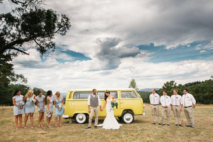 Yellow Kombi Van Wedding