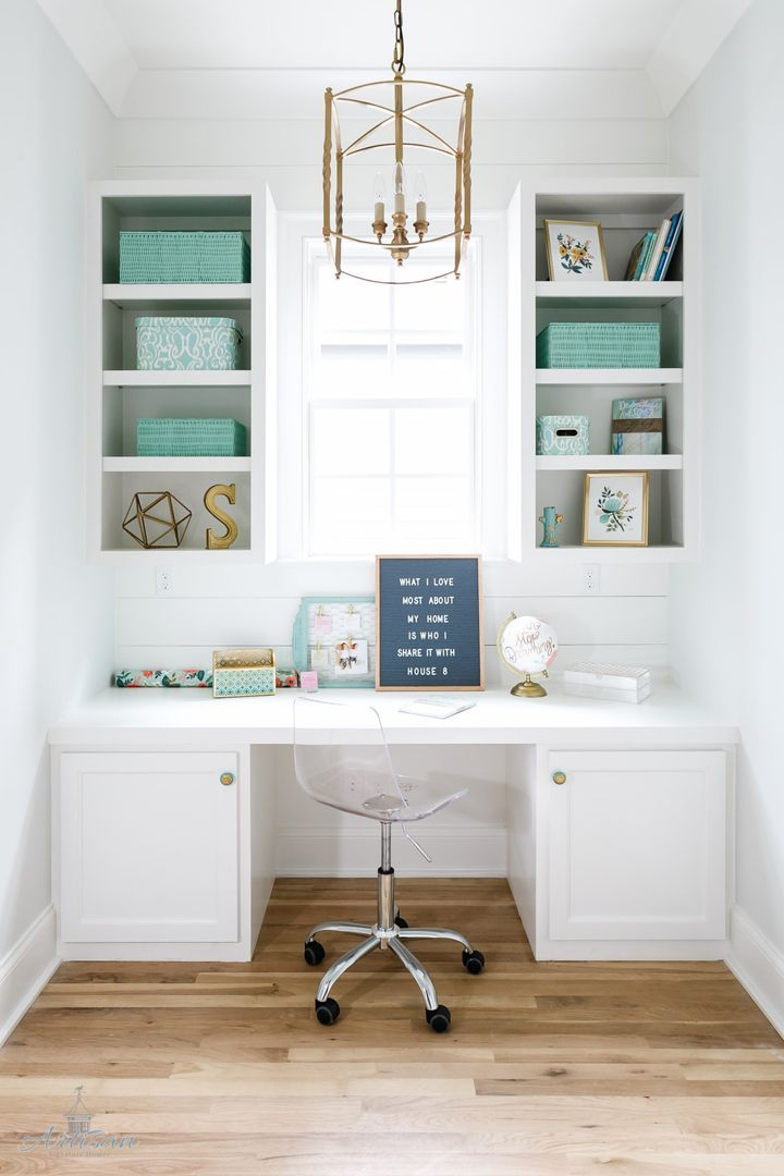 bright white pocket office with turquoise accents small office spacesoffice space designsmall home - Small Home Office Design