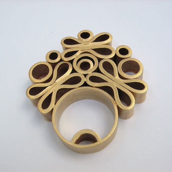The Bouquet Ring -18K Gold Plated Copper Piping Ring, via Etsy.