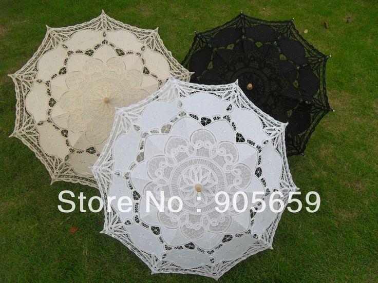 Free shipping (10 pcs/lot) Handmade 38'' 96cm solid white black & ivory lace parasols Bridal wedding umbrellas Sun umbrellas $141.08