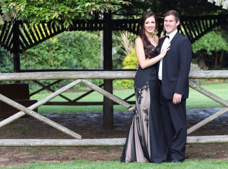 Black lace and nude Prom dress by Inge Coetzer