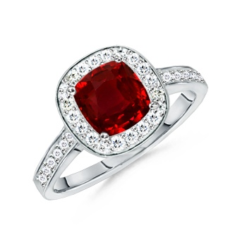 Angara Floral Metal Border Ruby and Diamond Vintage Ring in 14k Yellow Gold NuOKUYH