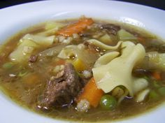 Prime Rib Soup - made a version of this tonight with my Thxgiving leftovers - the boys approved. Although when I tried to put the peas in, my husband grabbed them and dumped them outside.