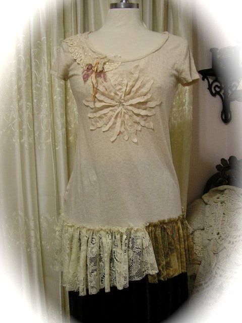 Shabby Upcycled Top - altered couture tee shirt top, soft and delicate creme color MEDIUM. $68.00, via Etsy.