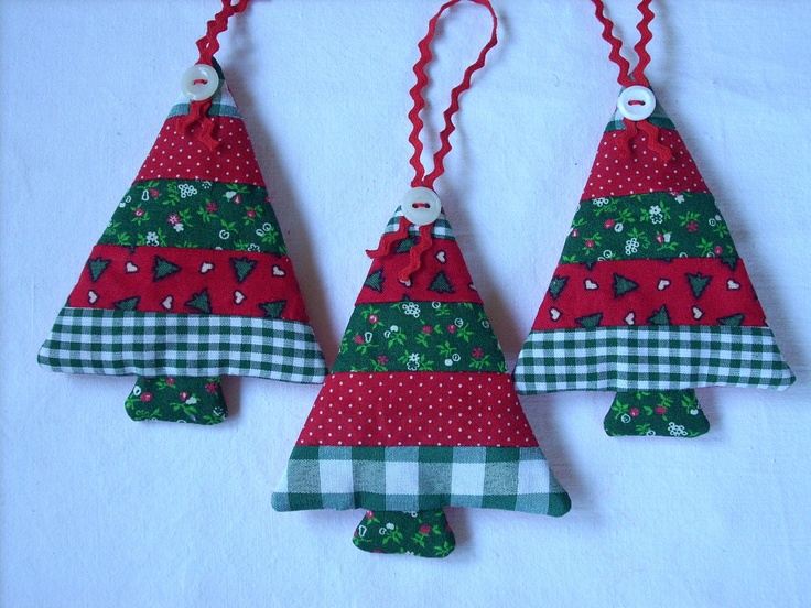 Fabric Christmas ornaments Traditional colors Set of 3 red white darkgreen. $9.50, via Etsy.