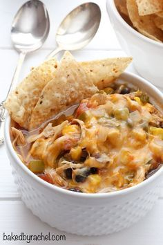 Hearty slow cooker black bean chicken taco chili recipe from /bakedbyrachel/