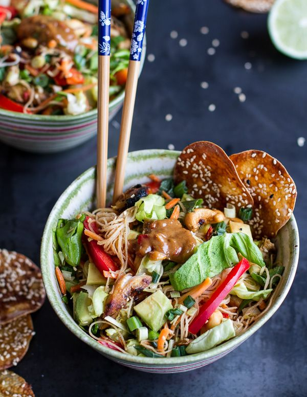 Vietnamese Chicken, Avocado + Lemongrass Spring Roll Salad With Hoisin Crackers. - Half Baked Harvest
