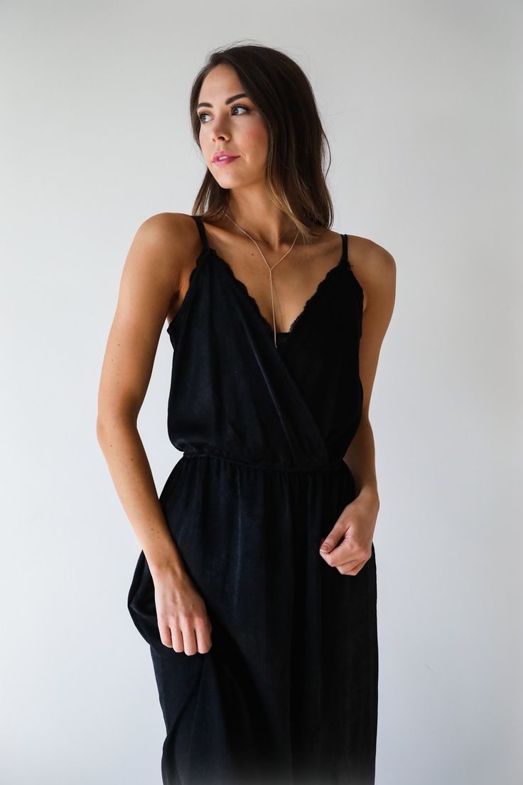 """• Black maxi tank slip dress • Available in S, M, L. Model is 5'7"""" and wearing a size small • 100% Polyester"""