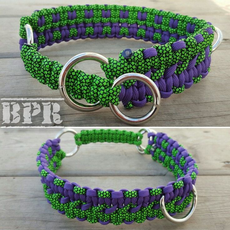 Martingale Double Cobra Paracord Rope Dog Collar 550 Paracord Purple & Green by BrodsParacord on Etsy