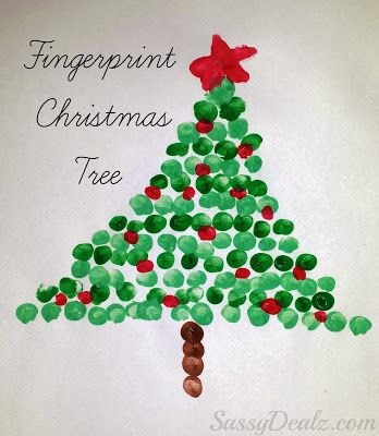 Make this cute fingerprint christmas tree craft with your kids! It's the perfect christmas art project to make with your kids during the holidays.