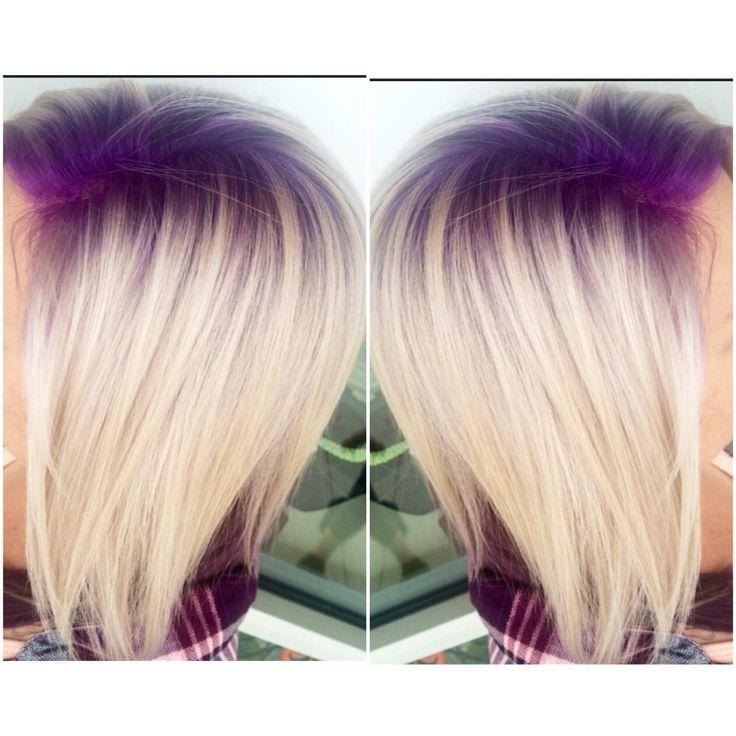 Purple violet shadow root with platinum blonde hair