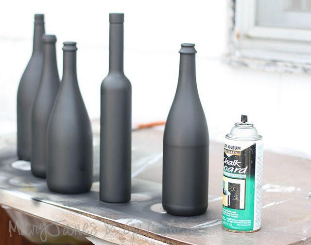 DIY Tutorial - Chalkboard Spray painted wine bottles using Rust-Oleum Chalkboard Spray, Black, 11-Ounce.