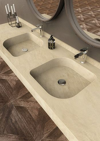 Marmi Serafini consolle wall hung top with integrate square wash basins in marble beige